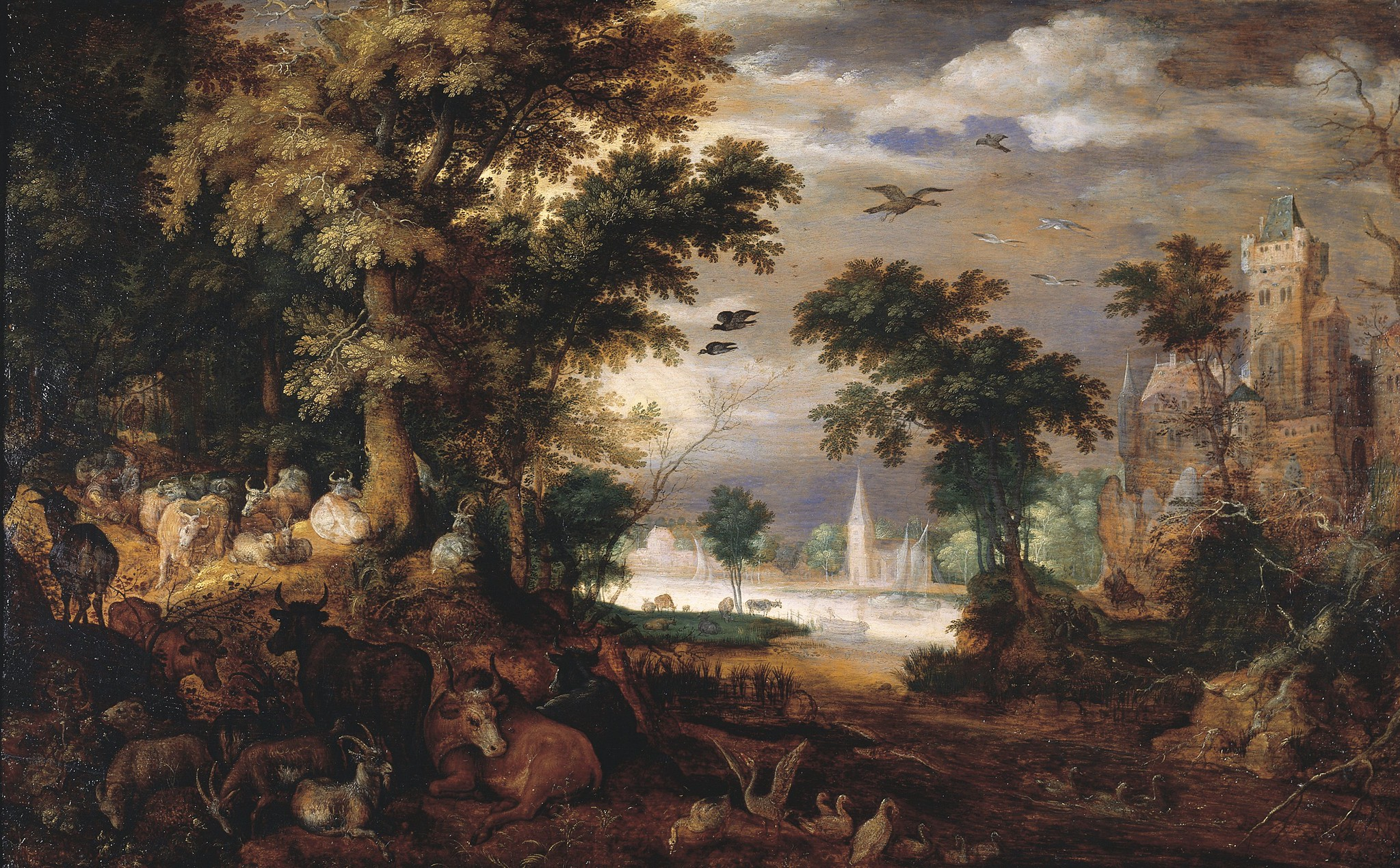 Roelandt Savery, Forest Landscape with Cattle and Castle Beyond, Long-term loan, Groeningemuseum