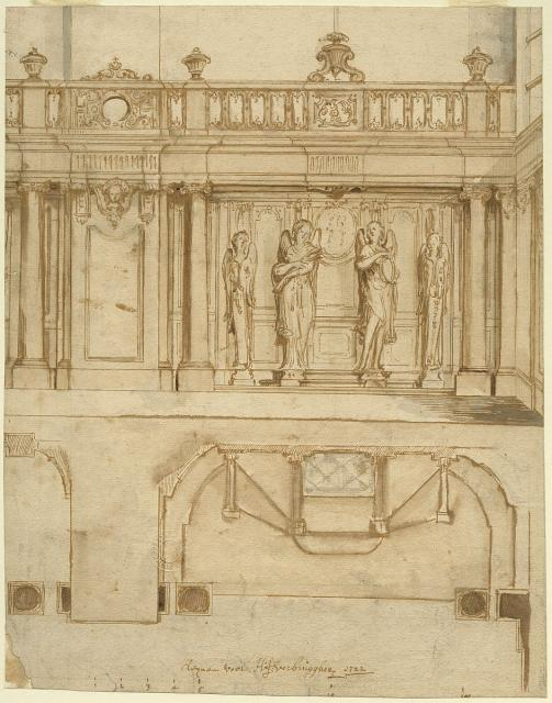 Design for a confessional, pannelling and balustrade