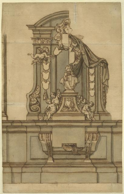 Design for the grave monument for Jacobus Franciscus van Caverson in the former Dominican church in Brussels