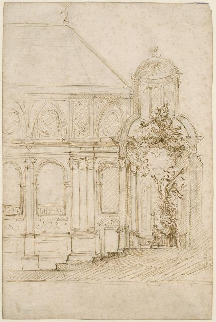 Cross-section of design for the high altar at St Andrew's Church in Antwerp