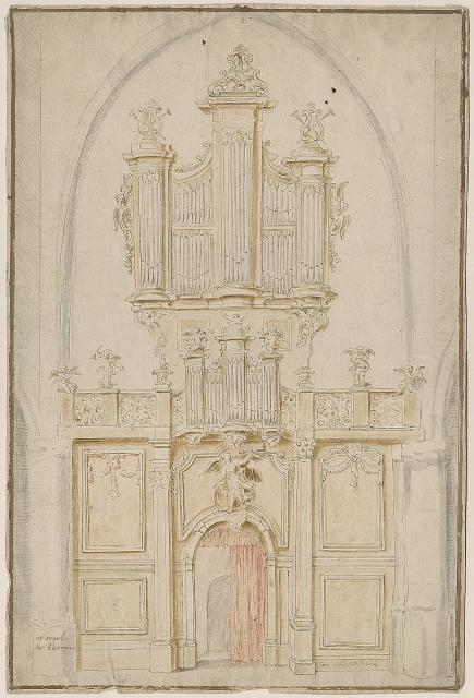 Design for the rood loft and organ at St Lambert's Church in Ekeren