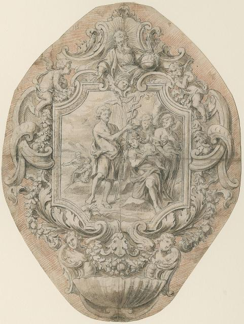 Design for a holy-water font showing the birth of Christ