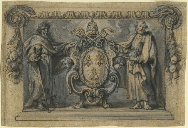 Coat of arms of Pope Urban VIII flanked by Peter and Paul