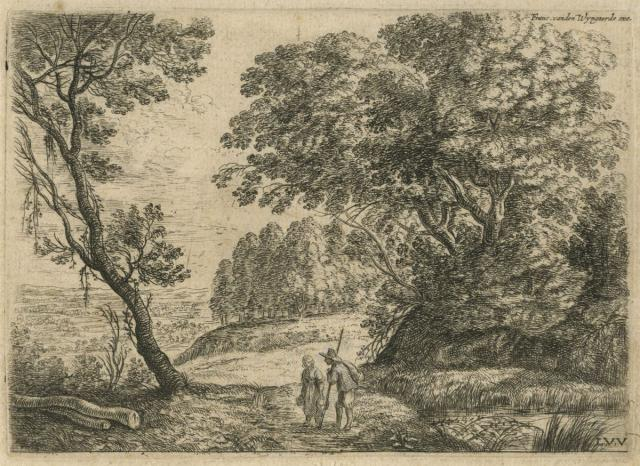 Landscape with a man talking to a woman