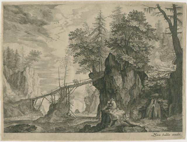 A draftsman seated at a wooden bridge in a mountainous landscape