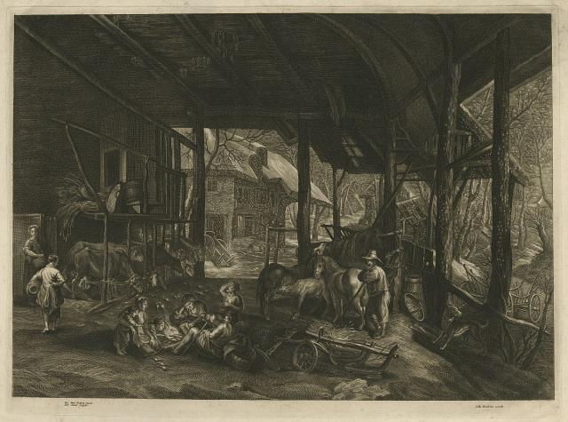 Winter landscape with cattle in the interior of a shed