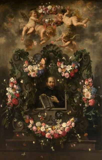 Saint Ignatius Surrounded by a Garland of Flowers