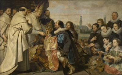 The Citizens of Antwerp bring back to Saint Norbert the Monstrance and other Sacred Vessels that they had hidden from Tankelin
