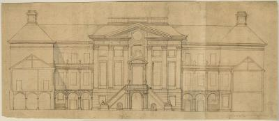 Design sketch for the rear façade and wings of a town mansion