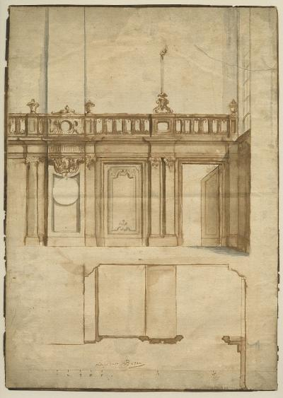 Design for panelling with two doors and a balustrade