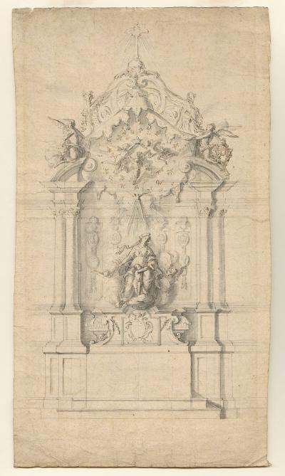 Design for an altar, with Mary and the Baby Jesus