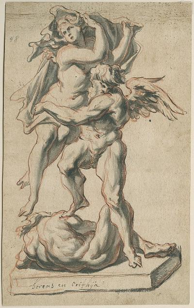 Design for a statue of Boreas and Oreithyia