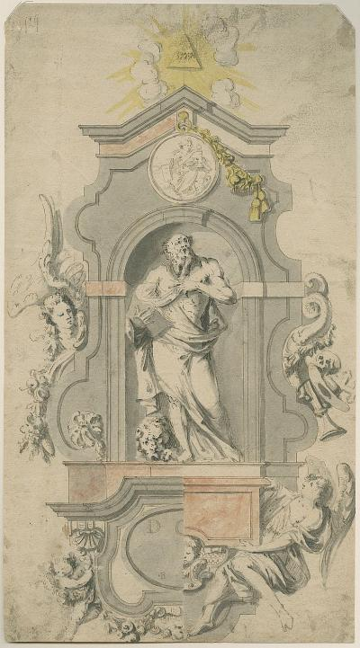 Design for a grave monument showing St Jerome