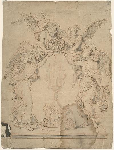 Design sketch for the Angel Throne in the Cathedral of Our Lady