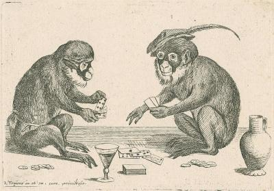 Two apes playing a card game